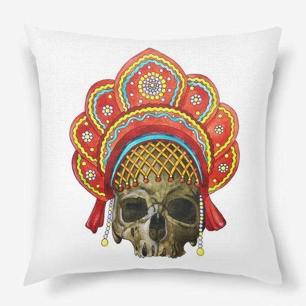Подушка «череп в кокошнике»