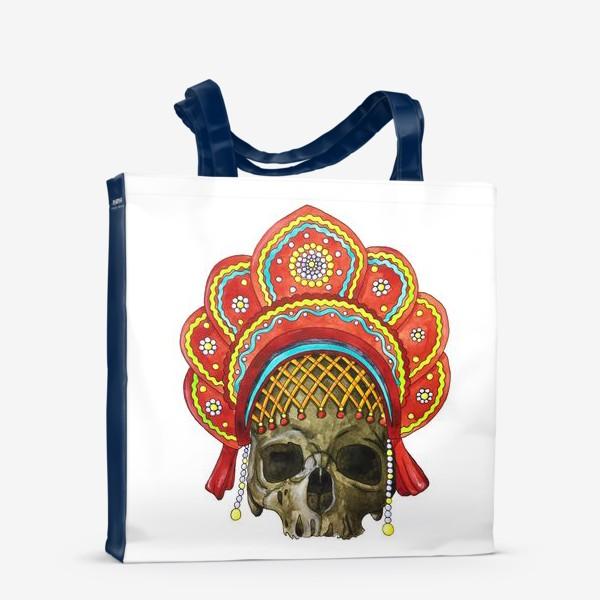 Сумка-шоппер «череп в кокошнике»