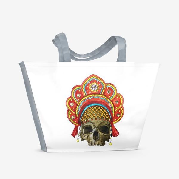 Пляжная сумка «череп в кокошнике»