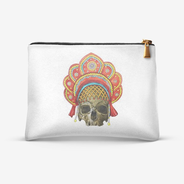 Косметичка «череп в кокошнике»