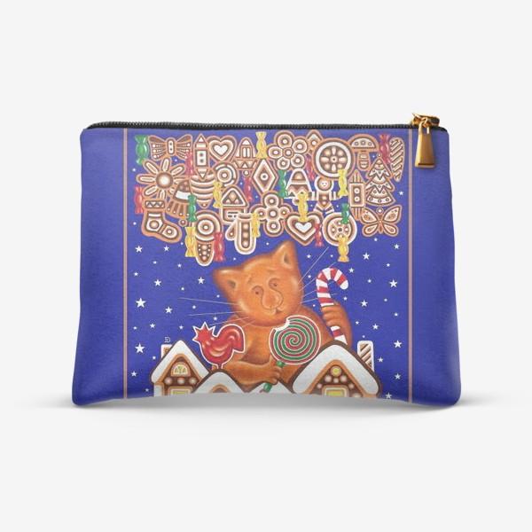 Косметичка «Пряничный кот на синем фоне»
