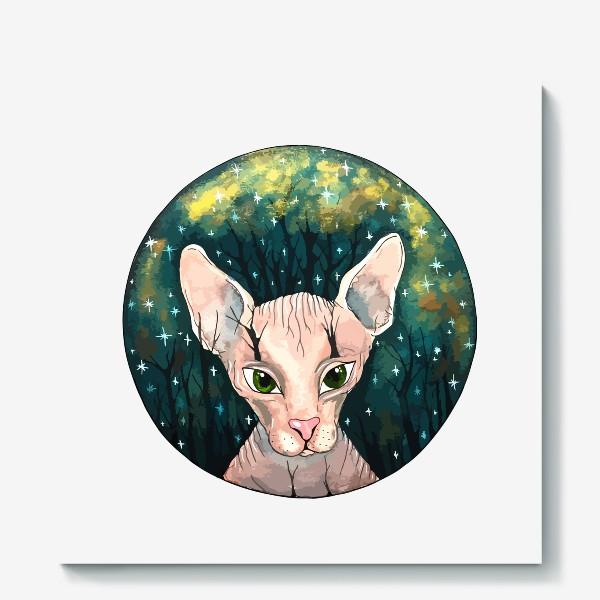 Холст «Кот сфинкс  в лесу»