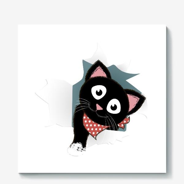 Холст «Мультяшный черный котенок выглядывает из разорванной бумаги»