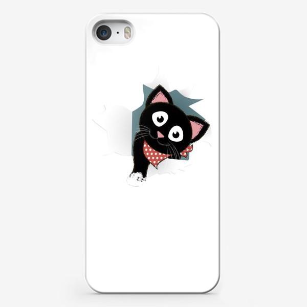 Чехол iPhone «Мультяшный черный котенок выглядывает из разорванной бумаги»