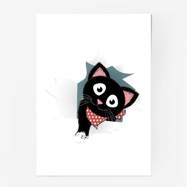 Постер «Мультяшный черный котенок выглядывает из разорванной бумаги»