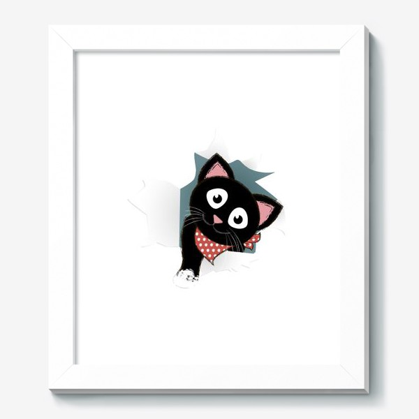 Картина «Мультяшный черный котенок выглядывает из разорванной бумаги»