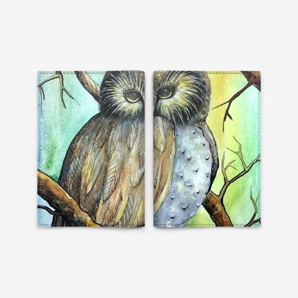 Обложка для паспорта «Сова в лесу»