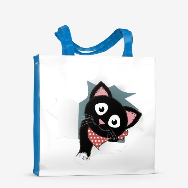 Сумка-шоппер «Мультяшный черный котенок выглядывает из разорванной бумаги»