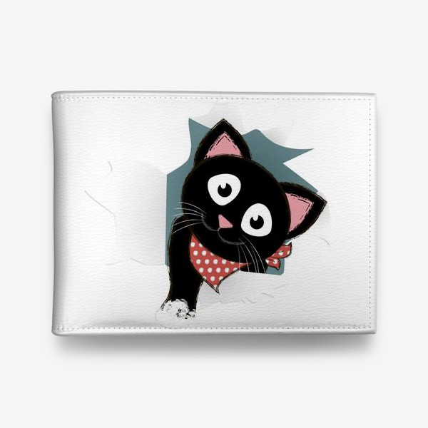 Кошелек «Мультяшный черный котенок выглядывает из разорванной бумаги»