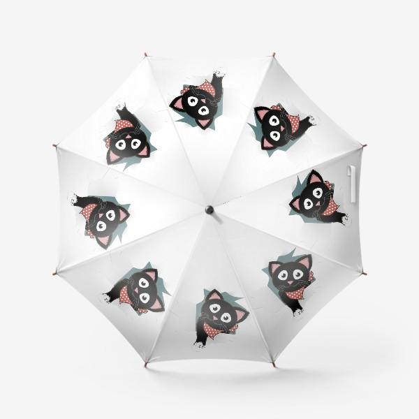 Зонт «Мультяшный черный котенок выглядывает из разорванной бумаги»