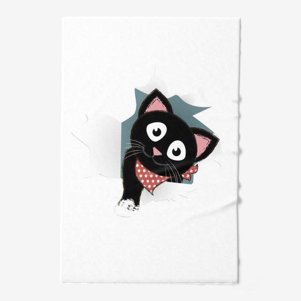 Полотенце «Мультяшный черный котенок выглядывает из разорванной бумаги»