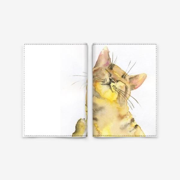 Обложка для паспорта «Рыжий кот проснулся»