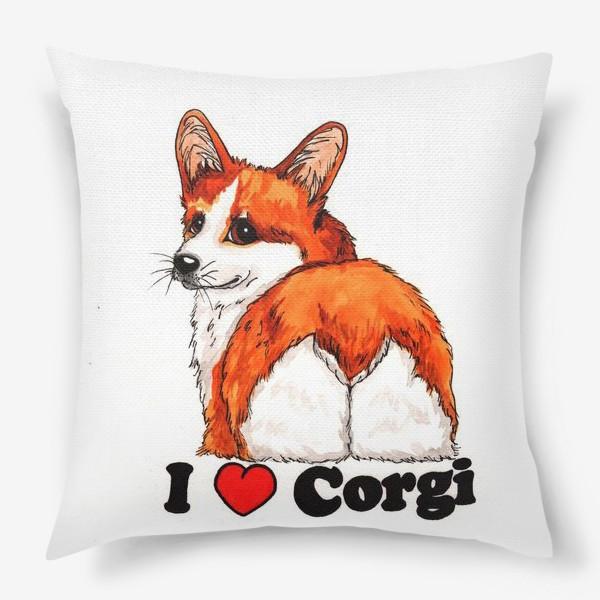 Подушка « Я люблю корги»