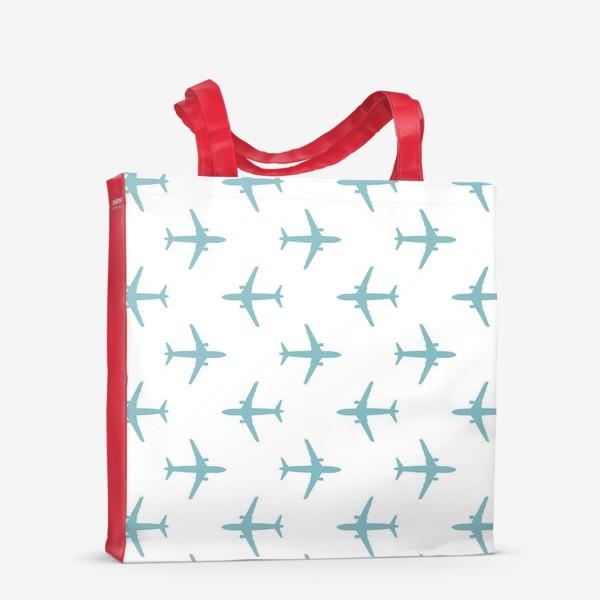 Сумка-шоппер «Воздушный паттерн с самолётами»