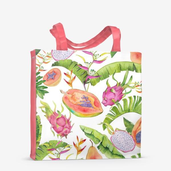 Сумка-шоппер «Сочные тропические фрукты и цветы на белом: геликонии, драгонфрут и папайа»