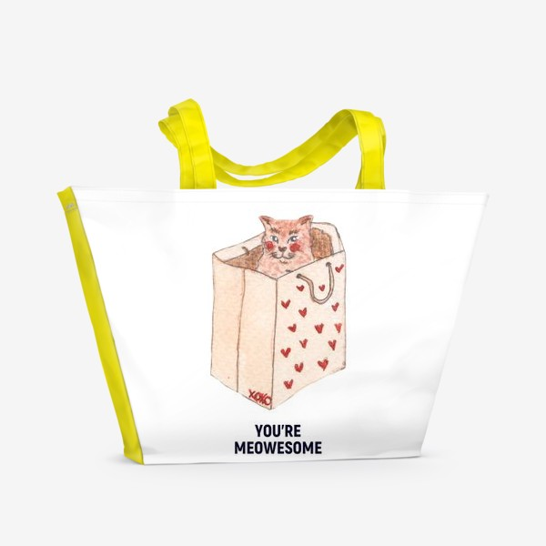 Пляжная сумка «you're meowesome xoxo»