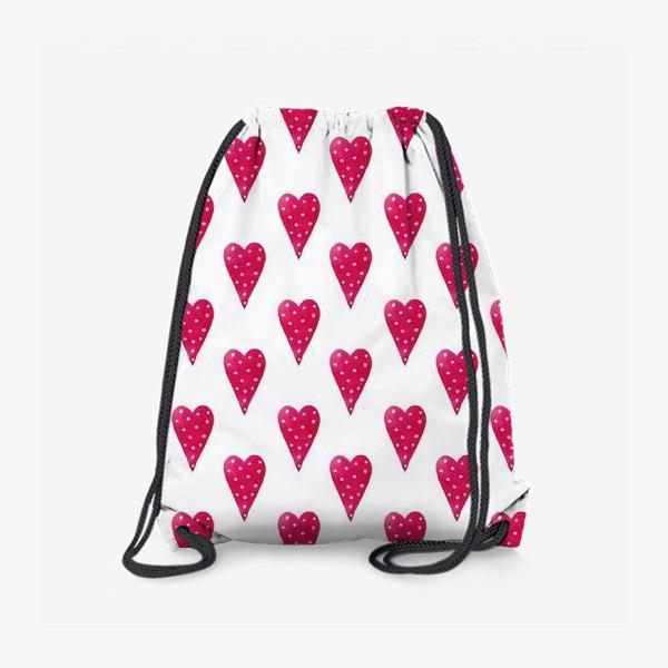 Рюкзак «Орнамент из красных сердечек»