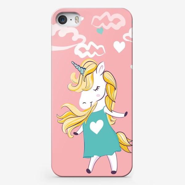 "Чехол iPhone «Иллюстрация ""Единорог"" для девочки, облака сердечки»"