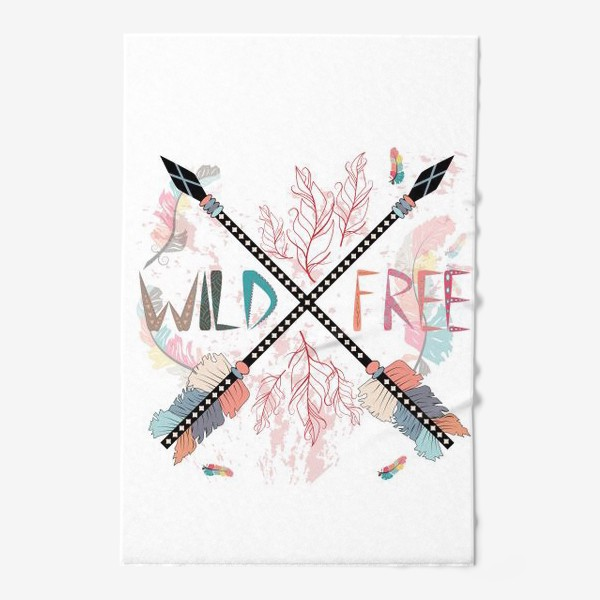 Полотенце «Дикий и свободный, стрелы, бохо»