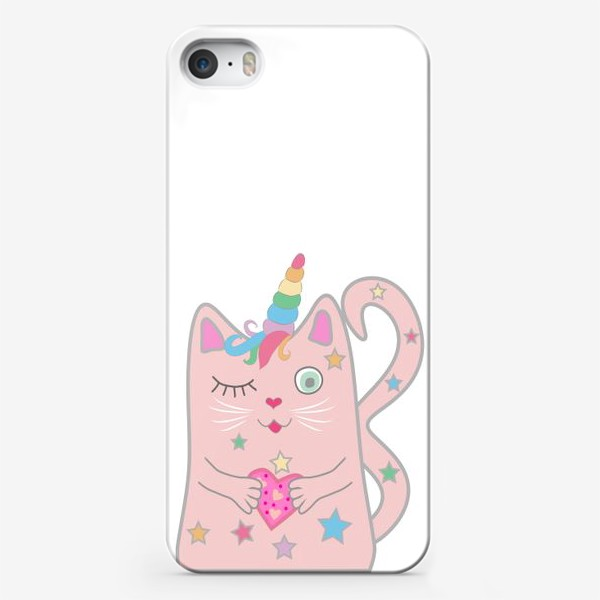 Чехол iPhone «Подмигивающий котик-единорог с сердечком»