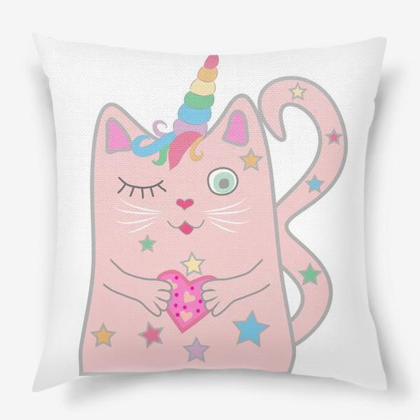 Подушка «Подмигивающий котик-единорог с сердечком», купить ...