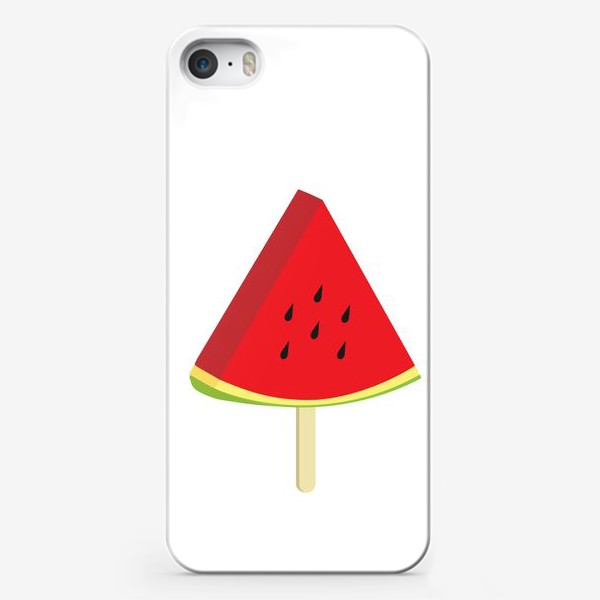 Чехол iPhone «Долька арбуза на палочке. Фруктовая летняя иллюстрация»