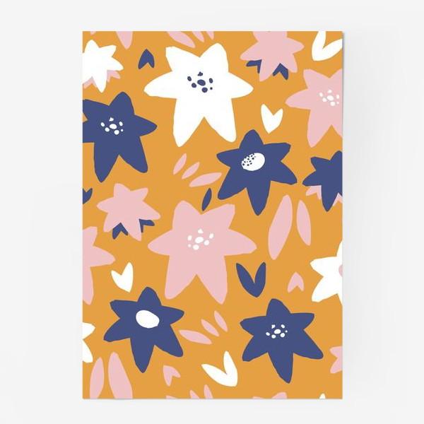 Постер «Абстрактные цветы-звёзды»