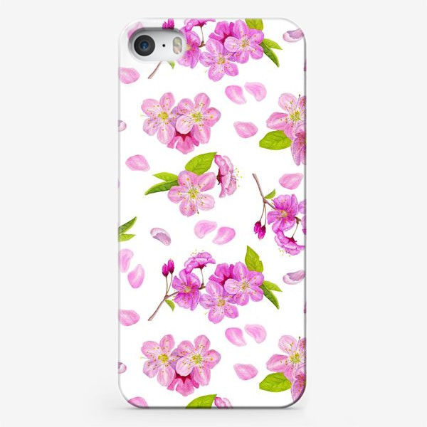 Чехол iPhone «Цветущая вишня паттерн на белом фоне»