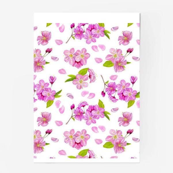 Постер «Цветущая вишня паттерн на белом фоне»