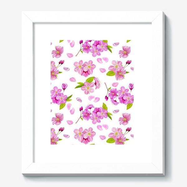 Картина «Цветущая вишня паттерн на белом фоне»