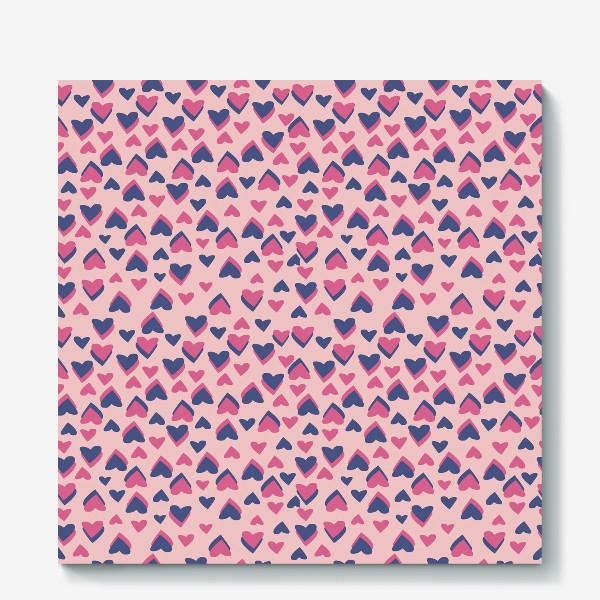 Холст «Паттерн розовые сердца»