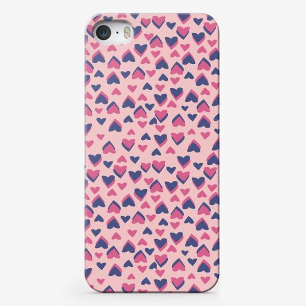 Чехол iPhone «Паттерн розовые сердца»