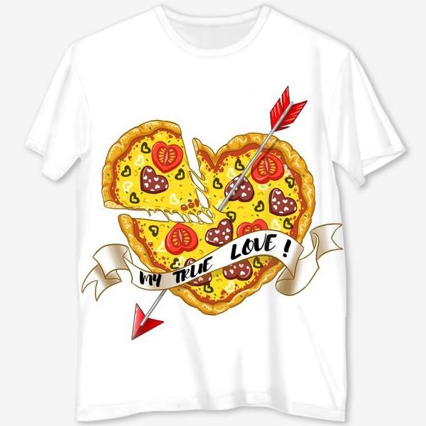 Футболка с полной запечаткой «любовь это пицца»