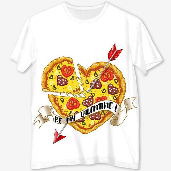 Футболка с полной запечаткой «пицца на день святого валентина»