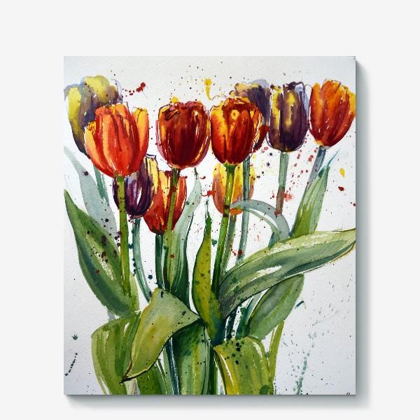Холст «Тюльпаны акварелью»