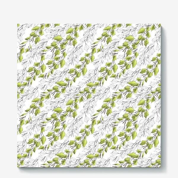 Холст «Весенний паттерн с березовыми листьями»