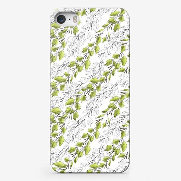 Чехол iPhone «Весенний паттерн с березовыми листьями»