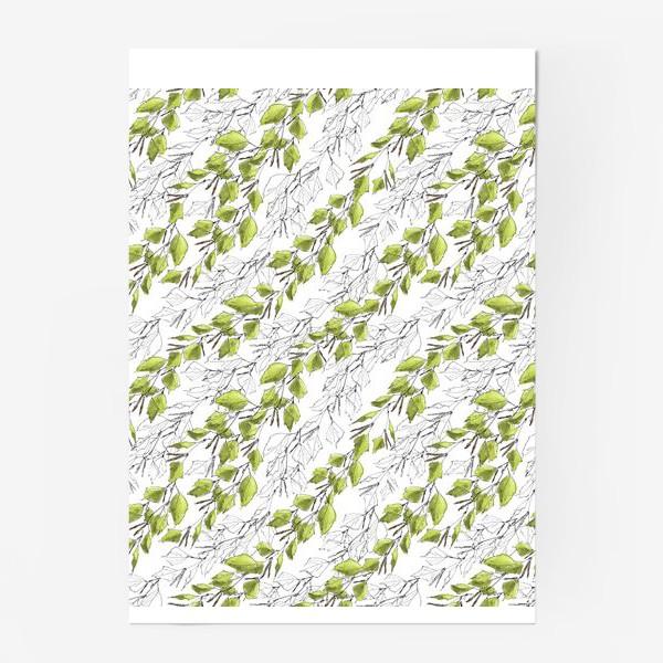 Постер «Весенний паттерн с березовыми листьями»