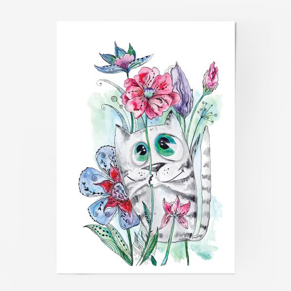 Постер «Забавный летний акварельный котик с цветами»
