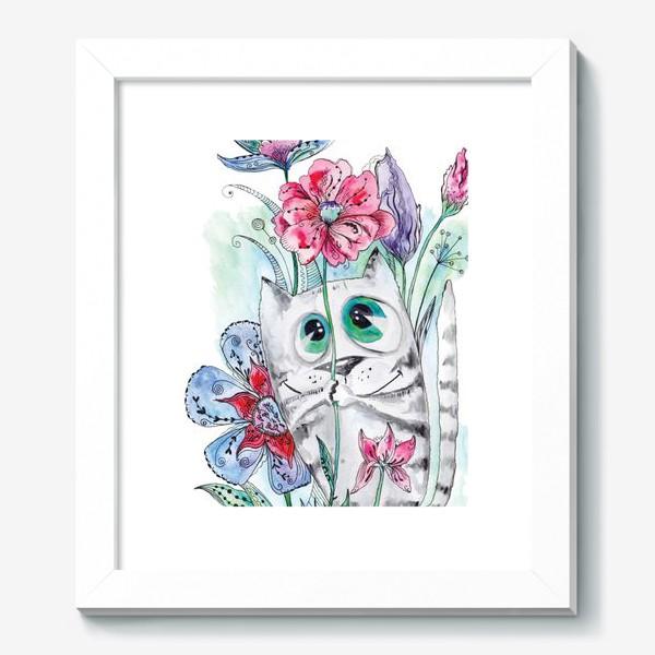 Картина «Забавный летний акварельный котик с цветами»