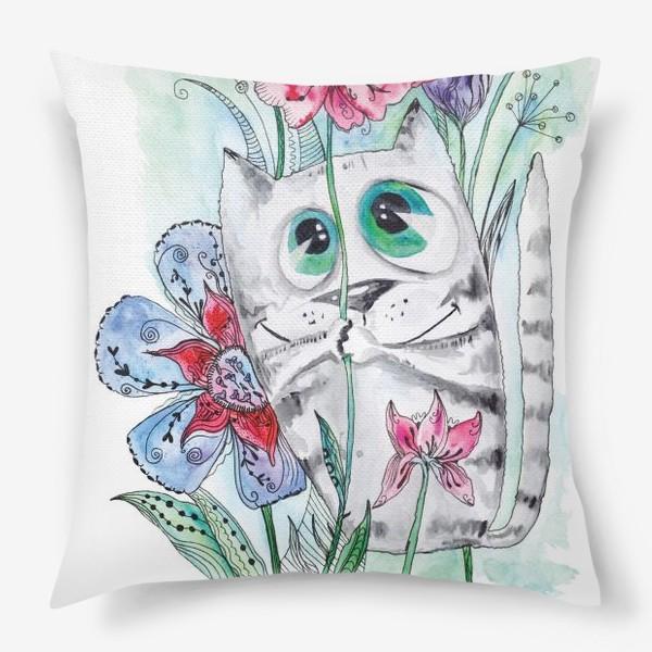Подушка «Забавный летний акварельный котик с цветами»