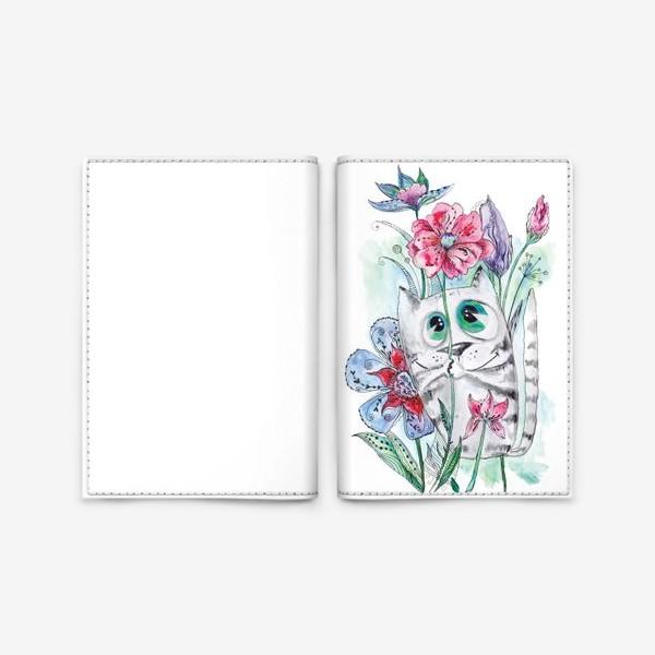 Обложка для паспорта «Забавный летний акварельный котик с цветами»