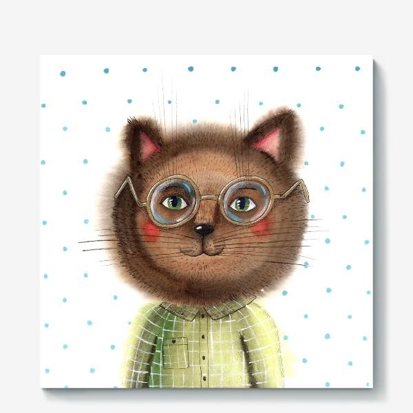 Холст «Кот в очках»