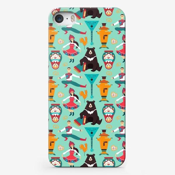 Чехол iPhone «Русский народный паттерн. Символы России-медведь, самовар, матрешка,танцоры»
