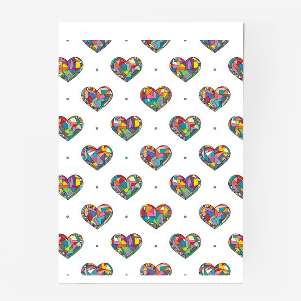 Постер «Геометрические сердечки»