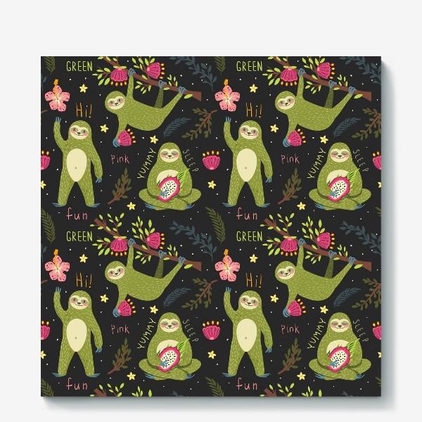 Холст «Зеленые ленивцы»