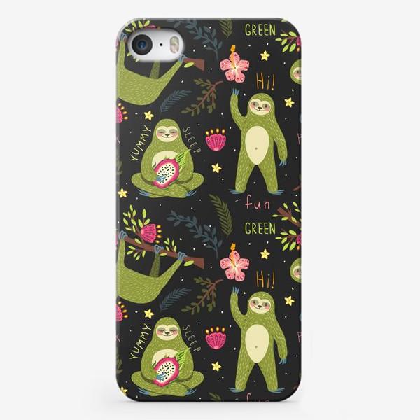 Чехол iPhone «Зеленые ленивцы»