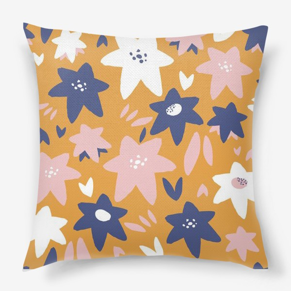 Подушка «Абстрактные цветы-звёзды»