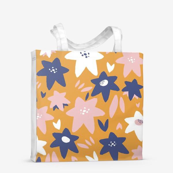 Сумка-шоппер «Абстрактные цветы-звёзды»