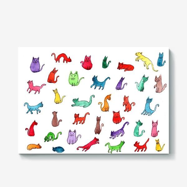 Холст «Разноцветные коты»